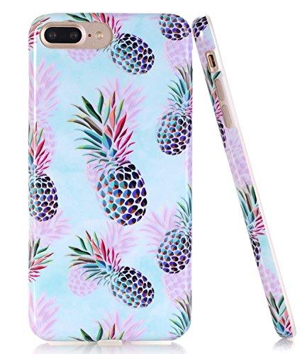 iPhone 7 Plus Case, BAISRKE Slim Flexible Soft Silicone Bumper Shockproof Gel TPU Rubber Glossy Skin Cover Case for Apple iPhone 7 Plus & iPhone 8 Plus, Phantom Pineapple