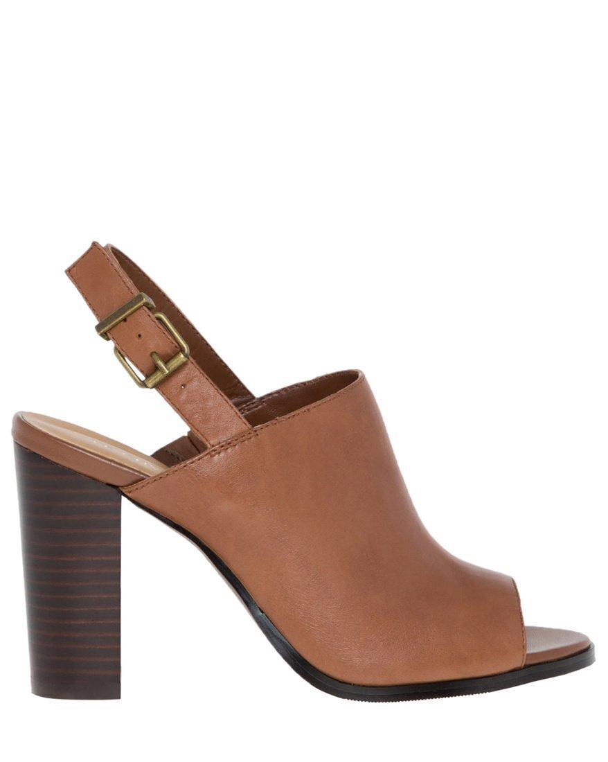LE CHÂTEAU Women's Leather Peep Toe Shoe Bootie,40,Brown