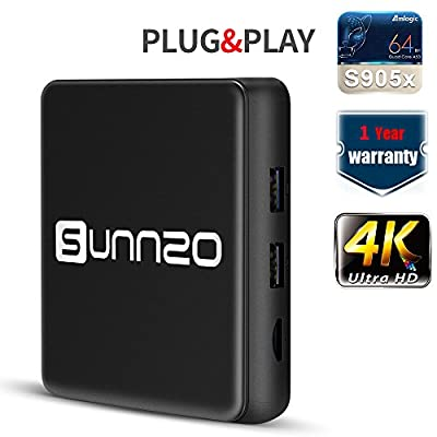 (2017 New Arrival) SUNNZO H4 Ultra HD 4K Smart TV Box with Android 6.0 OS/Streaming Media Player with Original Amlogic S905X Quad-core Chipset,H.265,WiFI 2.4GHz