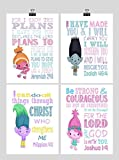 Trolls Inspirational Christian Nursery Art Set of 4 Prints - Poppy, Dj Suki, Creek and Branch - Playroom or Kids Room - Multiple Sizes