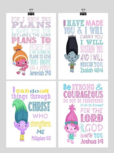 Trolls Inspirational Christian Nursery Art Set of 4 Prints - Poppy, Dj Suki, Creek and Branch - Playroom or Kids Room - Multiple Sizes by Pixie Paper
