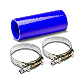 """3"""" to 3"""" 8"""" Long Straight 4-Ply Turbo/Intake/Intercooler Piping Silicone Coupler Hose+T-Clamp (Blue)"""