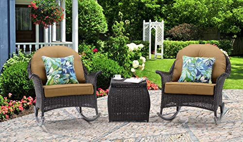 Hanover SUNPRCH3PC-TAN Sun Porch 3-Piece Resin Rocking Chair Set with Country Cork Cushions Outdoor Furniture, Tan