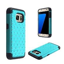 Samsung Galaxy S7 Phone Case [ Storm Buy ] Hard & Soft Sturdy Hybrid Gel Rhinestone Bling Diamond Armor Defender [ Anti Scratch ] Case Cover (Bling Teal)