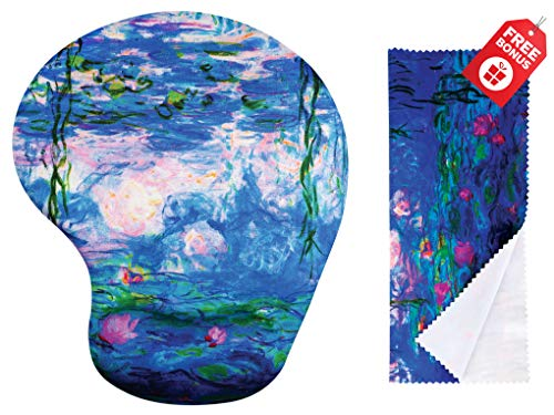 Claude Monet Water Lillies 1917 Ergonomic Design Mouse Pad with Wrist Support. Gel Hand Rest. Matching Microfiber Cleaning Cloth for Glasses & Electronics. Mouse Pad for Laptop, PC Computer and Mac.