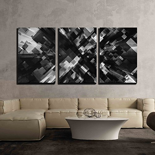 wall26 - 3 Piece Canvas Wall Art - Abstract Digital 3d Background with Black Cubes Perspective Pattern - Modern Home Decor Stretched and Framed Ready to Hang - 24