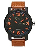 Top Plaza Mens Analog Quartz Leather Calendar Watch Arabic Numeral Daily Waterproof Big Face Business Classic Dress Watches-Brown