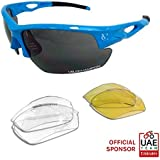 VeloChampion Sky Blue Tornado Cycling Running Sports Sunglasses - with 3 Sets of Lenses and Soft Pouch