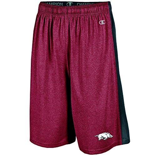 NCAA Arkansas Razorbacks Men's Heather Jersey Color Blocked Training Shorts, X-Large, Cardinal Heather
