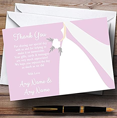 Pink Bride Personalized Wedding Thank You Cards