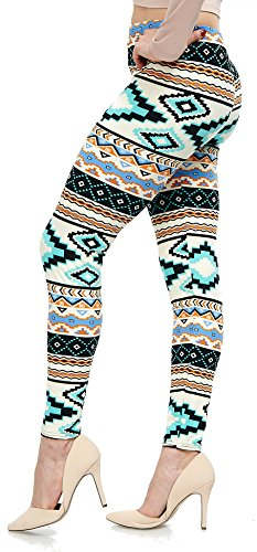 LMB Lush Moda Extra Soft Leggings with Designs- Variety of Prints - 751F Aztec Multi B5 by LMB