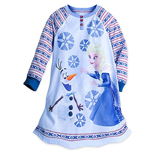 Disney Frozen Long Sleeve Nightshirt For Girls Size 7/8 Blue