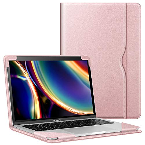 Fintie Sleeve Case for MacBook Air 13 A2237 (M1)/A2179/A1932 (2018-2020), Compatible w/ MacBook Pro 13 A2338 (M1)/A2251/A2289/A2159/A1989/A1706/A1708 (2016-2020), PU Leather Folio Book Cover, RoseGold
