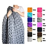 EASTSURE Bulky Knit Throw Chunky Sofa Blanket Hand-made Super Large Pet Bed Chair Mat Rug Grey 40''x79''