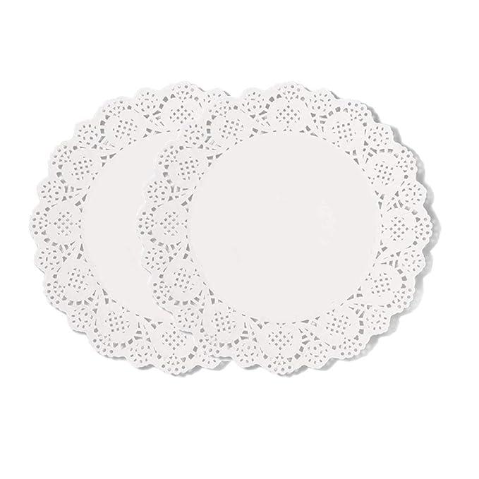 Diossad 100 piezas Blanco Redondo de papel de encaje tapetes de papel pastel de Doilies de Encaje de Papel Redondo Blanco: Amazon.es: Hogar