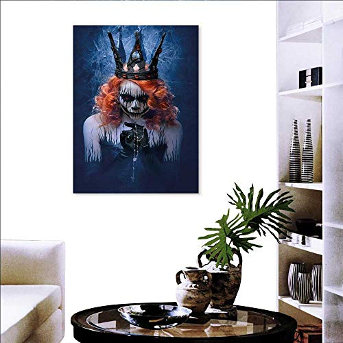 (Queen Print Paintings Home Wall Office Decor Queen Death Scary Body Art Halloween Evil Face Bizarre Make Up Zombie Art-Canvas Prints 16