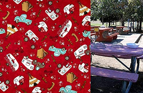 (Custom Stay Put Reusable Fabric Fitted Tablecloth for 6 Ft Picnic, RV or Camping Bench 3 Piece Set, Table and 2 bench set. Vintage Campers. No more hot or dirty seats. Fitted Table Cover for Camping)