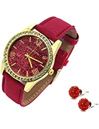 Ladies Gold Tone Red Glitter Dial Watch and Matching Earrings set Leather Band Fashion