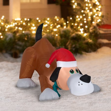 Easy Set-Up Airblown Self Inflatable Energy-Efficient Christmas Playful Puppy Dog with Santa Hat, 2.5 Tall (1) by Gemmy (Image #2)
