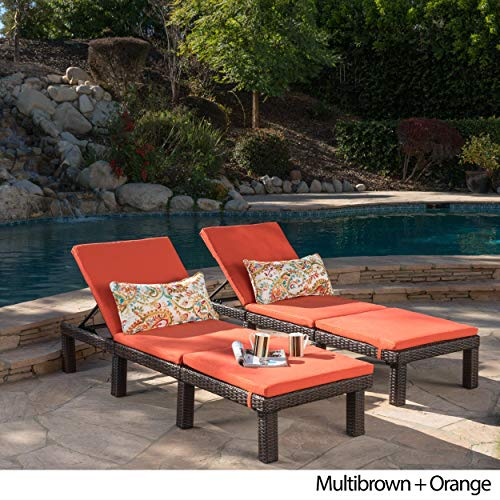 Jamaica Chair Cushion - Christopher Knight Home Jamaica Outdoor Chaise Lounge with Cushion (Set of 2) by Lounge + Orange Cushion