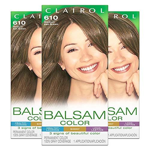 Clairol Balsam Color Women's Permanent Hair Color, 610 Medium Ash Brown, 3 Count, Packaging May Vary Ash Liquid Hair Color