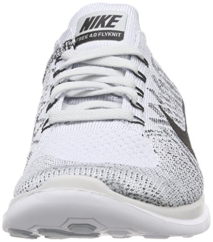 Nike Free 4.0 Flyknit Zapatillas de running, Hombre Plateado / Negro / Blanco (Pure Platinum / Blk-White-Cl Gry)