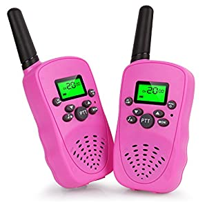 Walkie Talkies for Kids, Two-way Radio Long Range Walky Talky, Kids Creative Electronics Birthday Christmas Toys Gifts For Girls/Boys (Pink)