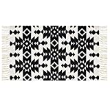 Ukeler Decorative Door Mat, 100% Cotton Handmade Indoor Rugs Contemporary Black Geometric Washable Floor Rugs for Kitchen/Entry Way, 23.6 by 35.4 inch