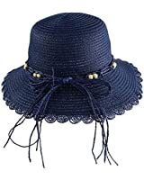 Wasolola Straw Hat Sun Beach Hat for Women Wide Brim Flower Edge Unique Decoration Floppy Foldable with Chin Strap (Blue)