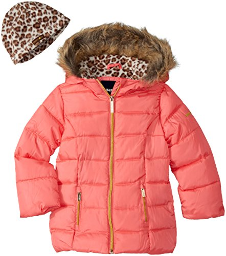 LiMiTeD Too Big Girls' Too Faux Down Puffer W/Polar Fleece Hat, Coral, - Coat Puffer Girls