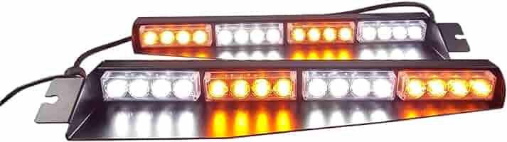 Blue//White//Blue//White ABRIGHT Upgrade 30LED Visor Lights 26 Flash Patterns Windshield Emergency Hazard Warning Strobe Beacon Split Mount Deck Dash Lamp 180/° optic