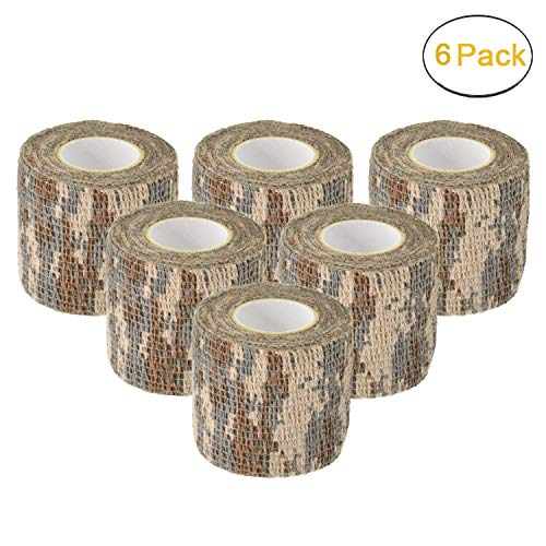 Camo Gun Wrap Tape Rifle Shotgun Camouflage Form Wrap Military Army Hunting Self-Adhesive Protective Multi-Functional Bandage for Rifles,Flashlights,Scope,Knife,Bicycle (Desert Camo 6 Rolls)