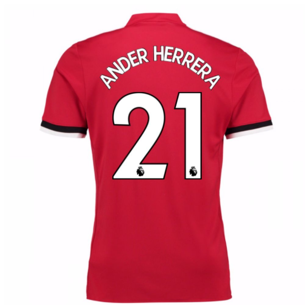 2017-2018 Man United Home Football Soccer T-Shirt Trikot (Ander Herrera 21) - Kids