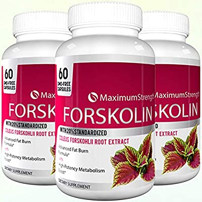 Maximum Strength Forskolin with 20% Standardized for Weight Loss - Max Strength Forskolin Extract with Advacned Fat Burn Formula 60 Capsules (1 Bottle)