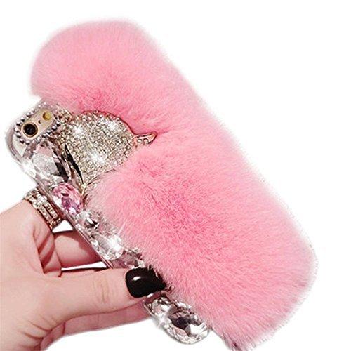- Galaxy A5 2016 Case,Deluxe Luxury Fox Head Fluffy Furry Soft Warm Beaver Rex Rabbit Hair Fur Glitter Diamond Crystal Rhinestone Case for Samsung Galaxy A5 2016 SM-A510(Pink)