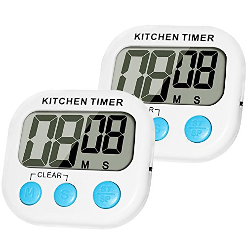 Digital Kitchen Timer, MOMONY 2 Pack Cooking Timer Clocks, Loud Alarm Large LCD Display with Magnetic Back and Retractable Stand,Minute Second Countdown and Up