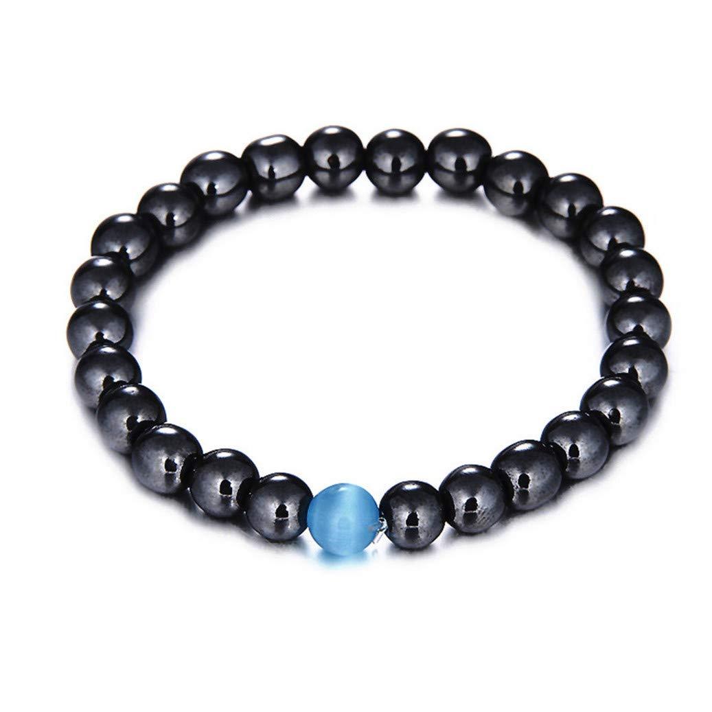 GOMYIE 8Mm Round Polished Beaded Stretch Alloy Bracelet for Women Handmade Beaded Jewelry(Blue)