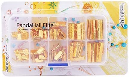 PandaHall Elite About 100 Pcs Iron Ribbon Bracelet Bookmark Pinch Crimp Clamp End Findings Cord Ends Fasteners Clasp Leather Crimp Ends Length 8mm 10mm 13mm 20mm 25mm for Jewelry Making Antique Bronze