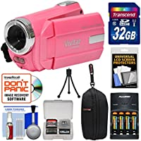 Vivitar DVR 508 NHD Digital Video Camera Camcorder (Bubble Gum Pink) with 32GB Card + Batteries & Charger + Case + Tripod + Kit