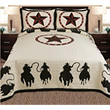 Fancy Collections 3-piece Western Horse Rider Cabin / Lodge Quilt Bedspread C...