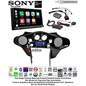 "Sony XAV-AX5000 Double Din 7"" Touch Screen w/ Apple CarPlay, Android Auto, Bluetooth, Sirius XM Install Kit for 1998-2013 Harley Davidson Batwing Fairing, Non-Road Glide Models Harley Vivid Black"
