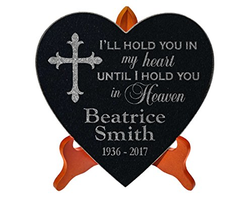 (Hold You in My Heart Family Loss Memorial Stone With STAND Personalized Sympathy Garden Marker In Loving Memory of Parent Grandparent Remembrance Gravestone)