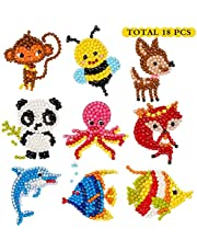 5D DIY 18 PCS Diamond Painting Stickers Kits for Kids and Adult Beginners, Stick Paint with Diamonds by Numbers Easy to DIY,Cute Animals, Sea World