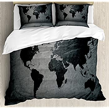 2a8184109d58d Ambesonne Dark Grey Duvet Cover Set Queen Size, Black Colored World Map on  Concrete Wall Image Urban Structure Grungy Rough Look, Decorative 3 Piece  Bedding ...