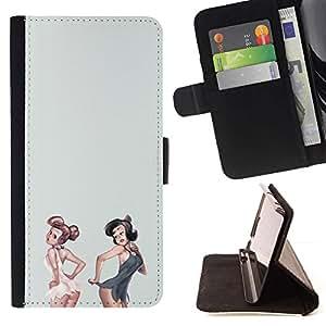 Momo Phone Case / Flip Funda de Cuero Case Cover - Filles Blanc Gris Lingerie Bébé - Apple Iphone 4 / 4S