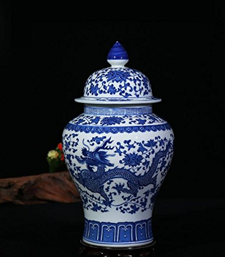 Antique Imposing Ceramic Ginger Jar Home Office Decor Blue and White Porcelain Vase