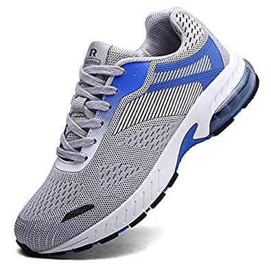 Ahico Sneakers Running Shoes Air Cushion Women Tennis Shoe Lightweight Fashion Walking Breathable Athletic Training Sport for Womens Gray Size: 6