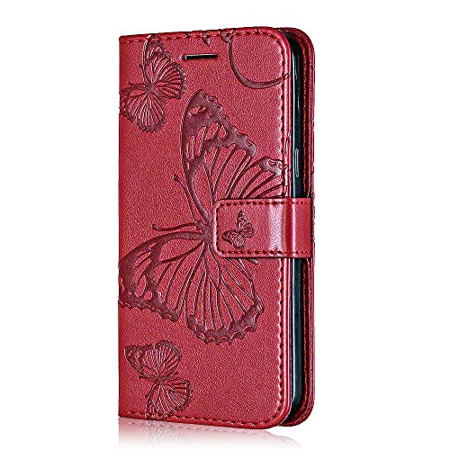 Galaxy S9 Plus Case, Bear Village Premium PU Wallet Protective Case with Card Slot, Magnetic Flip Notebook Leather Cover for Samsung Galaxy S9 Plus (#6 Red)
