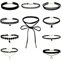 Hunputa 10 Pieces Choker Necklace for Women Girls, Black Classic Velvet Stretch Gothic Tattoo Lace