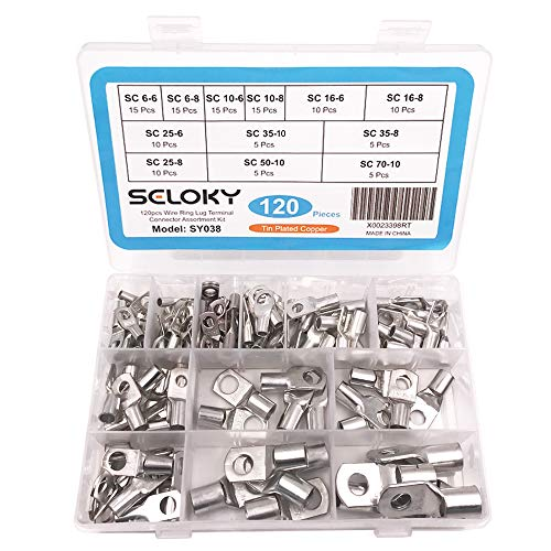 Seloky 120pcs Wire terminals Connector Cable lugs Battery SC Terminals Glimpse of Mouth,Bolt Hole Tinned Copper Terminals Set
